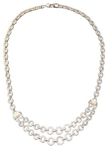 Judith Ripka Authentic Judith Ripka textured link necklace with gold and diamond accents