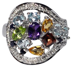 NY Collection Natural Multicolor Gemstone Cluster Cocktail Band Womens 925 Sterling