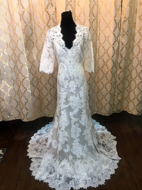 Item - Ivory/Cafe Lace/Silk 2604 Al Formal Wedding Dress Size 16 (XL, Plus 0x)