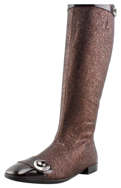 Brown Bronze Metallic and Patent Leather Boots/Booties