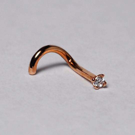 NY Collection Real 14K Pink Gold Nose Stud Screw Ring CZ Piercing Jewelry 10 Gauge Image 1