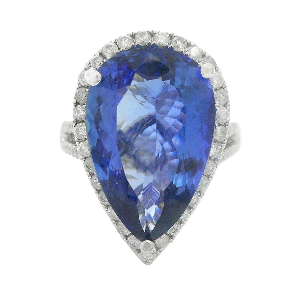 dark and gia certified ring gold white diamond tanzanite i