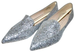 Sole Society Holiday Sparkle Ballet Silver Glitter Flats