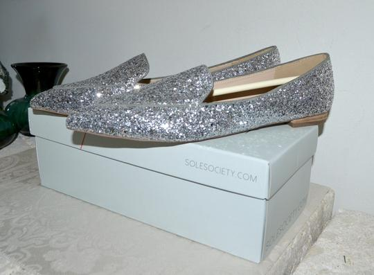 Sole Society Holiday Sparkle Ballet Silver Glitter Flats Image 2