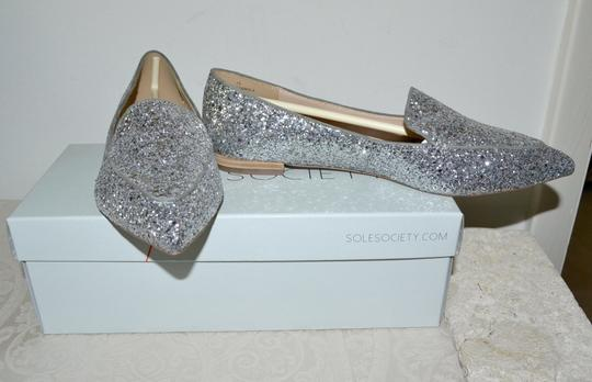 Sole Society Holiday Sparkle Ballet Silver Glitter Flats Image 3