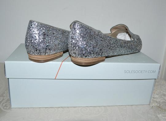 Sole Society Holiday Sparkle Ballet Silver Glitter Flats Image 4