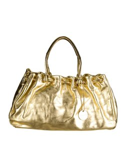 Tanner Krolle Leather Drawstring Holiday Satchel in Metallic Gold