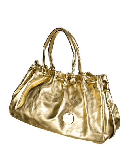 Tanner Krolle Leather Drawstring Holiday Satchel in Metallic Gold Image 1