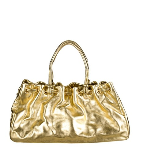 Tanner Krolle Leather Drawstring Holiday Satchel in Metallic Gold Image 2