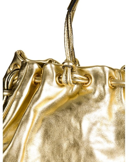 Tanner Krolle Leather Drawstring Holiday Satchel in Metallic Gold Image 3