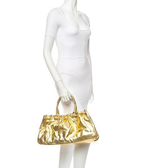 Tanner Krolle Leather Drawstring Holiday Satchel in Metallic Gold Image 5