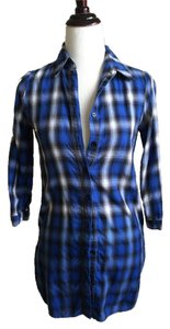 BB Dakota Tunic 3/4 Sleeve Ombre Button Down Shirt Cobalt Blue and White