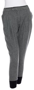 Boy. by Band of Outsiders Wool Leather Tweed Pleated Luxury Capri/Cropped Pants Charcoal
