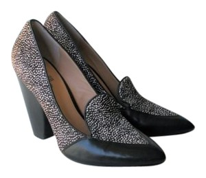 Belle by Sigerson Morrison Pony Hair Haircalf Leather Leopard Black & White Pumps