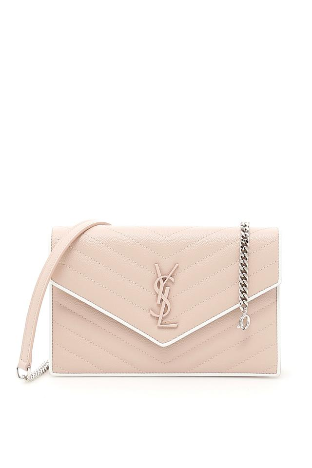 65f364b2b652 Saint Laurent Monogram Envelope Chain Wallet Pink and White Calfskin  Leather Cross Body Bag 11% off retail