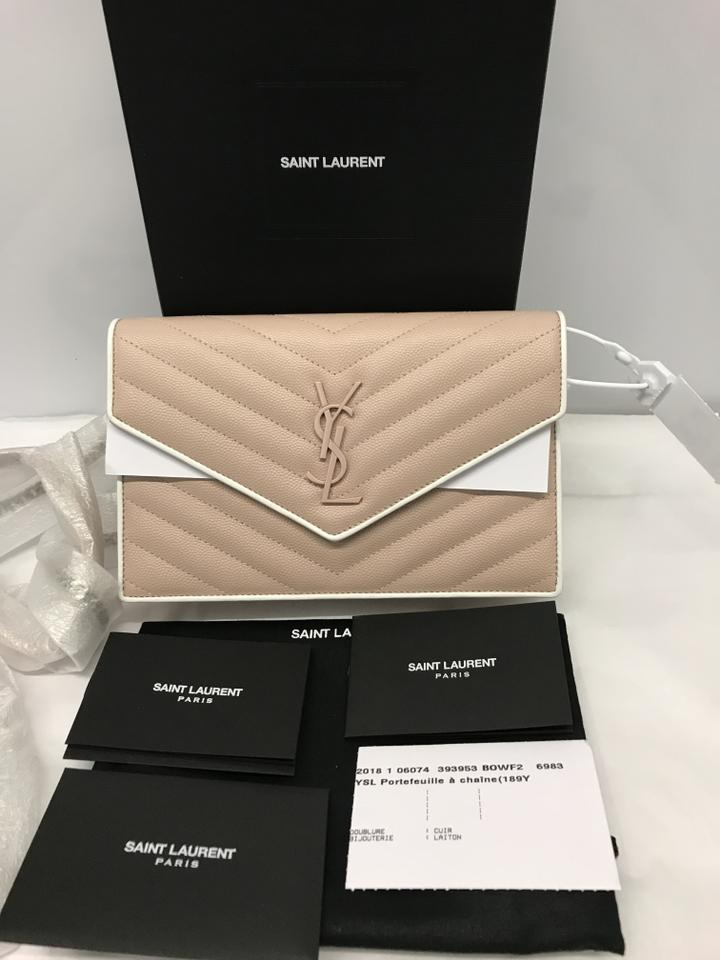 af2a61fa69 Saint Laurent Monogram Envelope Chain Wallet Pink and White Calfskin  Leather Cross Body Bag 11% off retail