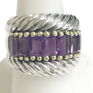 David Yurman David Yurman 14 Karat Yellow Gold and Sterling Silver Amethyst Ring