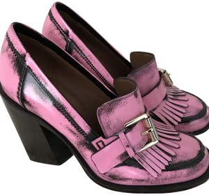 Mulberry Loafer Chunky Heel Pink Platforms