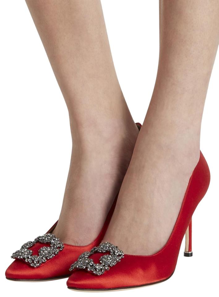 62529540ef519 Manolo Blahnik Red Hangisi Satin Point-toe 105mm Pumps Size US 9 ...