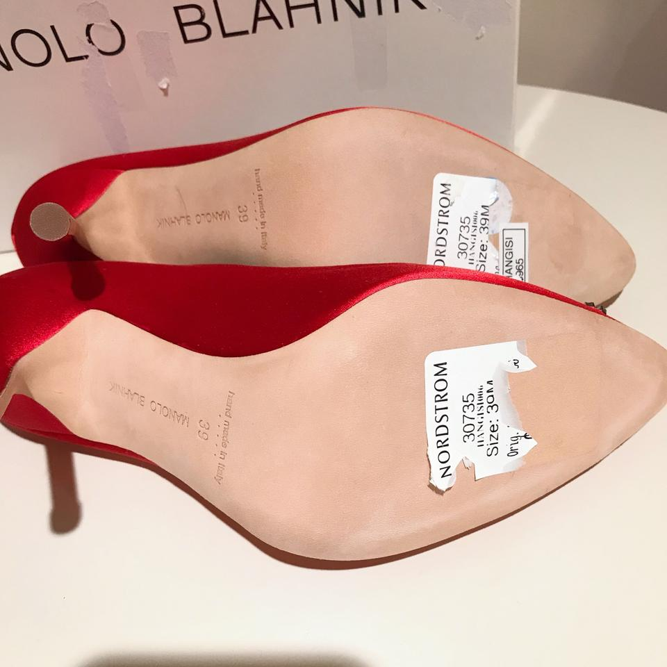 Pumps toe Hangisi Manolo Red Point 105mm Blahnik Satin qPS4Hawx