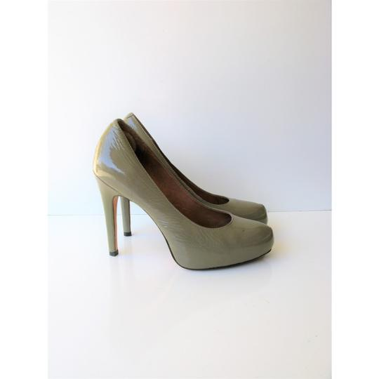 Corso Como Patent Leather Pinch Toe Olive Green Pumps Image 3