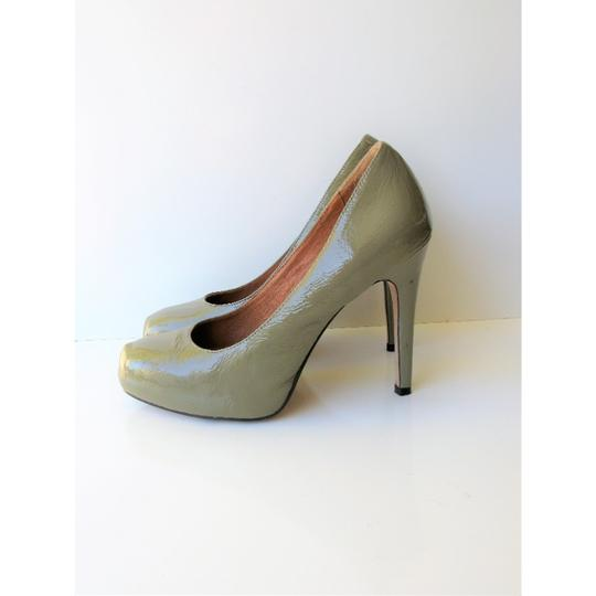 Corso Como Patent Leather Pinch Toe Olive Green Pumps Image 4