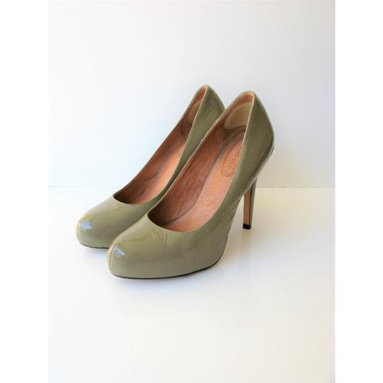Corso Como Patent Leather Pinch Toe Olive Green Pumps Image 5