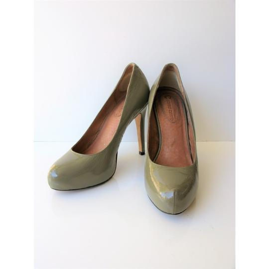 Corso Como Patent Leather Pinch Toe Olive Green Pumps Image 7