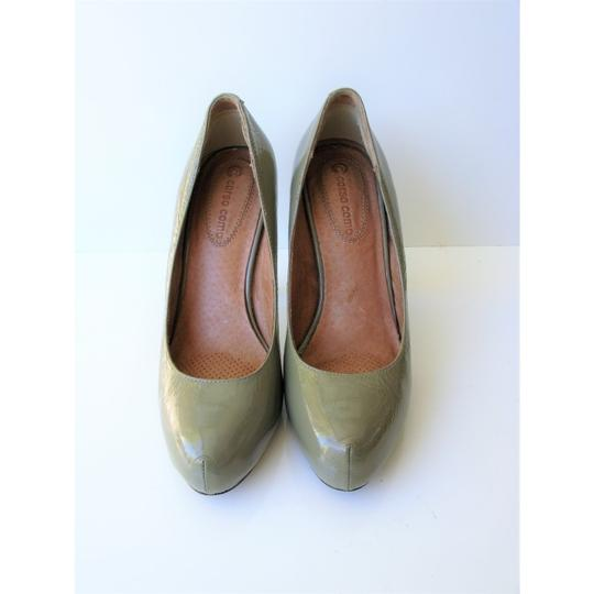 Corso Como Patent Leather Pinch Toe Olive Green Pumps Image 8