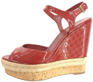 Gucci Monogram Patent Leather Red Wedges