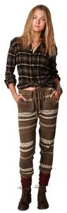 Charlotte Ronson Fair Isle Slouchy Knit Toasty Baggy Pants Multicolor, olive green