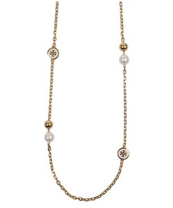 Tory Burch NEW Tory Burch Convertible Lacquered Logo Rosary Necklace in Ivory
