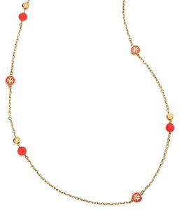 Tory Burch NEW Tory Burch Convertible Lacquered Logo Rosary Necklace in Coral