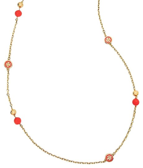 Preload https://img-static.tradesy.com/item/22638747/tory-burch-coral-new-convertible-lacquered-logo-rosary-necklace-0-0-540-540.jpg