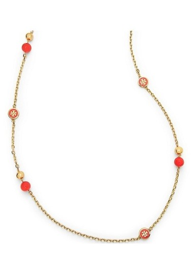Tory Burch NEW Tory Burch Convertible Lacquered Logo Rosary Necklace in Coral Image 2