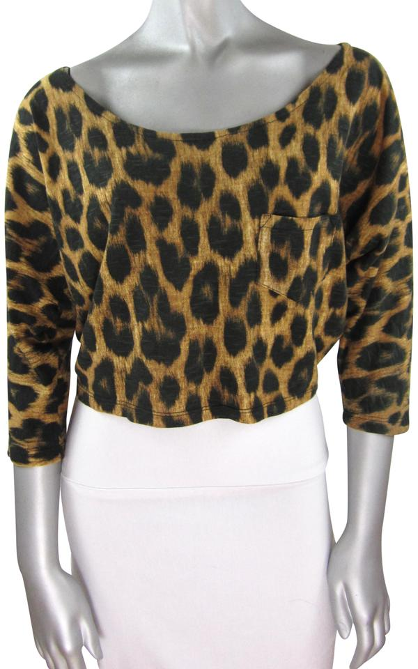 0a9a02b7 Motel Rocks Cropped Lightweight Leopard Print Crop T-shirt T Shirt  Multi-Color Image ...