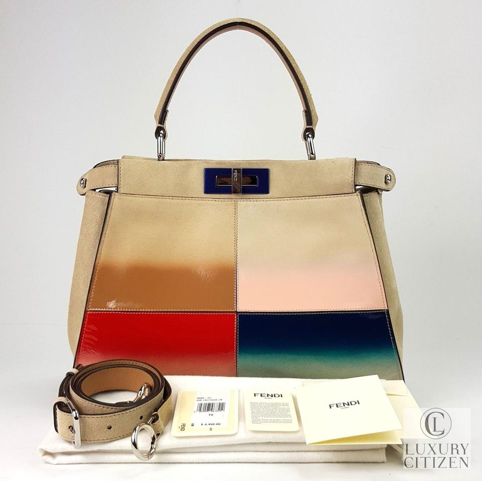 06215b47f54f3 Fendi Peekaboo Medium Gradient Handbag Nude   Multicolor Suede ...