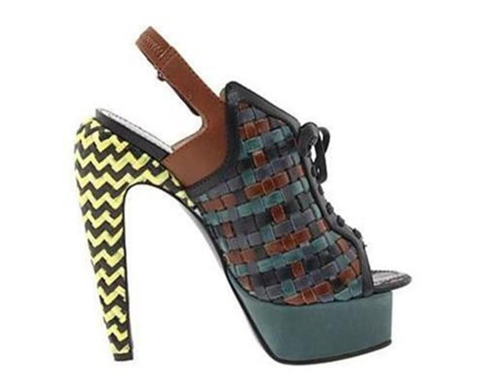 a75cd598ea9 Proenza Schouler Woven Leather Sandals Green Yellow Black Brown Platforms  Image 0 ...