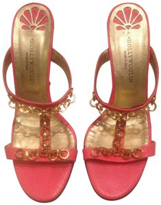 Hollywould Gold Hardware Summer Chic Leather Coral Sandals