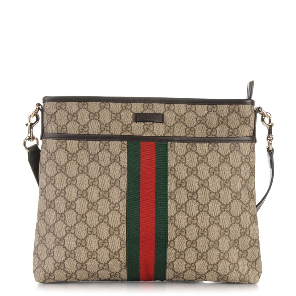 7540ee86276 Gucci Brown Multi Supreme 388926 Cross Body Beige   Red-green Web Canvas  Messenger Bag