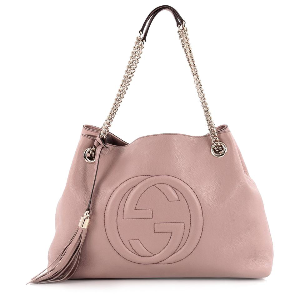 daa1739c7 Gucci Shoulder Soho Interlocking Chain 308982 Blush Pink Leather Hobo Bag