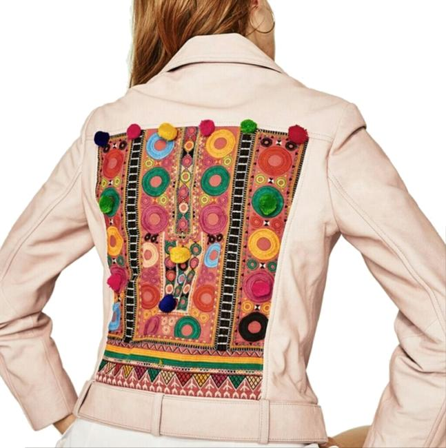 Item - Pink Real Leather Biker Embroidered Jacket Size 6 (S)