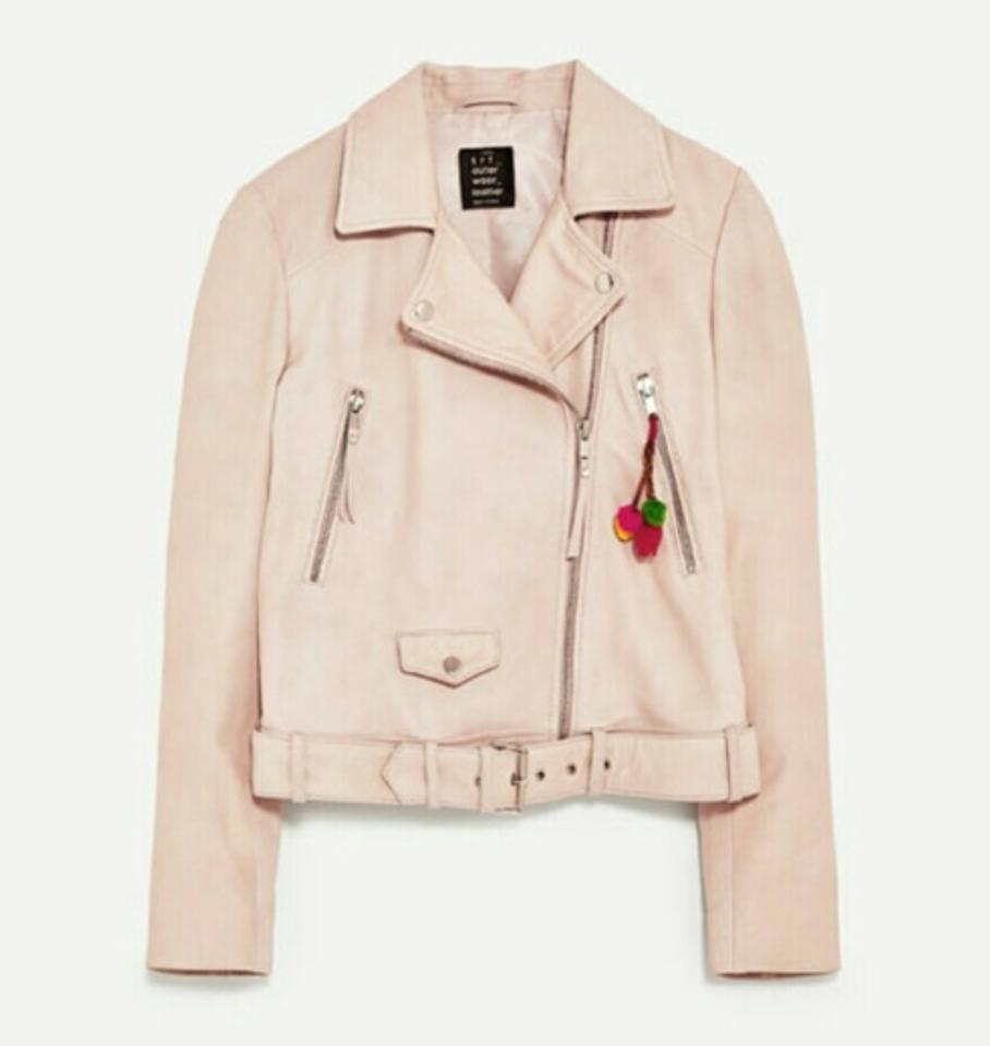 Zara Pink Real Leather Biker Embroidered Jacket Size 6 S Tradesy