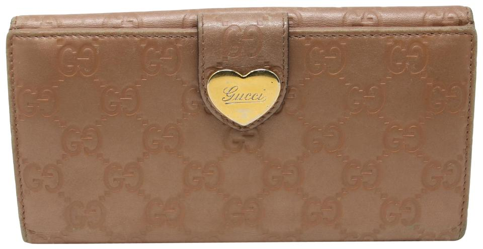 bcc8c5e047ce Gucci Pink Beige Signature Double Hook Long Continental Snap Heart Gg Wallet