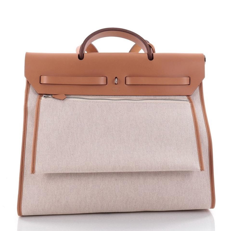 e83b26ab5c3e Hermès Herbag Zip 39 Off-white Leather and Toile Shoulder Bag - Tradesy