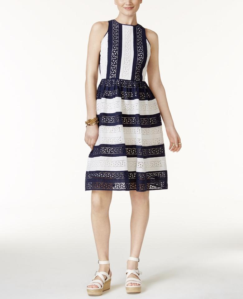 Michael Michael Kors Navy Blue And White Cotton Eyelet