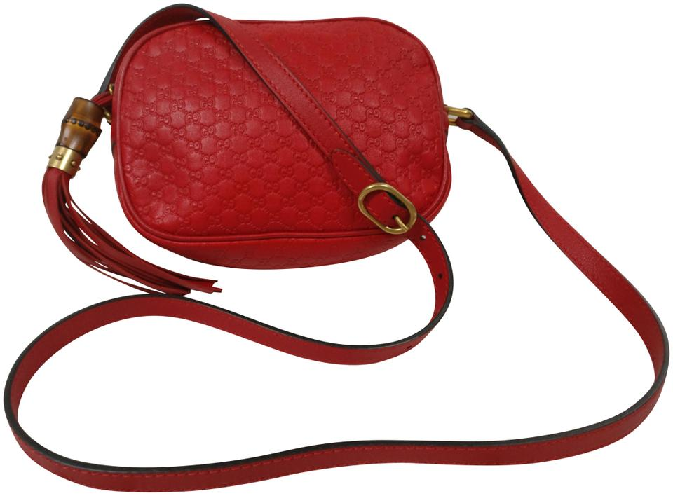 68b803199380 Gucci Soho Bree Disco Gg Monogram Red Leather Cross Body Bag - Tradesy