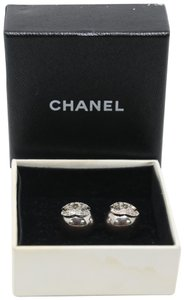 Chanel Signature Silver Grid CC Clip On Round Earrings