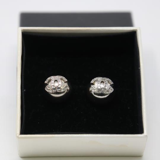 Chanel Signature Silver Grid CC Clip On Round Earrings Image 2