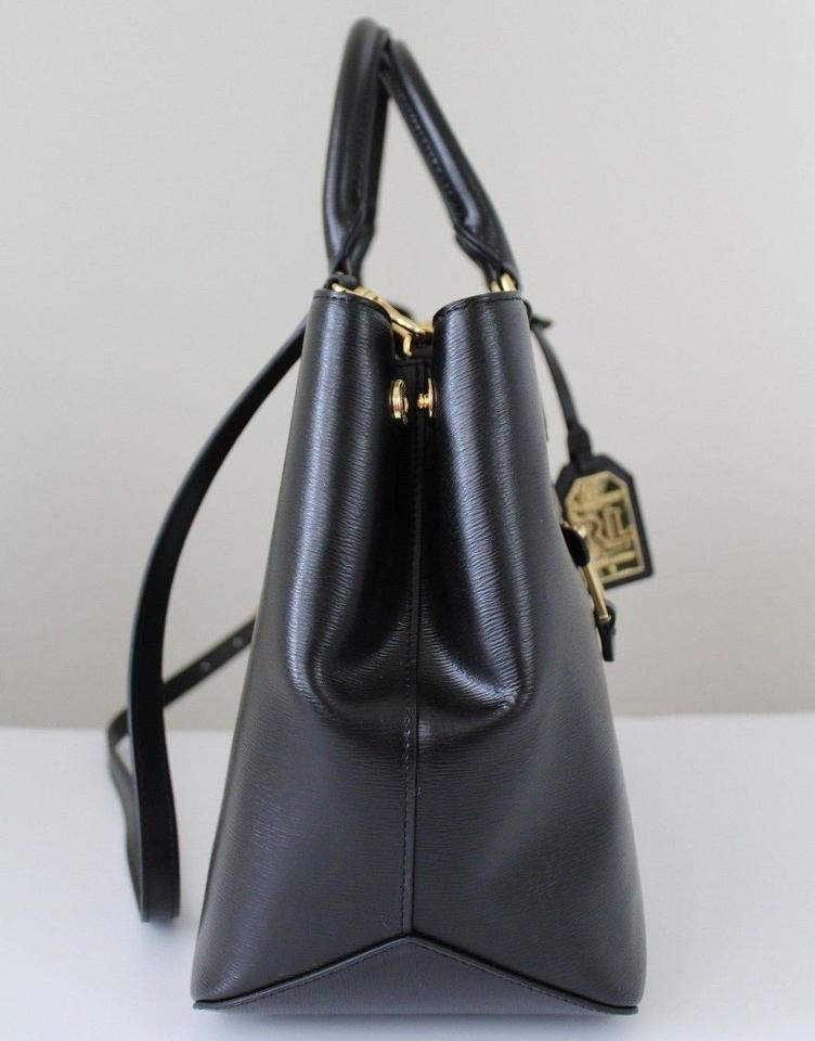 c10d55f02b Lauren Ralph Lauren Saffiano Sabine Medium Black Leather Satchel ...